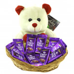 Chocolaty Teddy - Teddy Bear 6 inches, 10 Cadbury Dairy Milk in Basket and Card