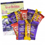 Chocolaty Combo - 4 Cadbury Dairy Milk, 3 Kit Kat, 3 Five Star and Card