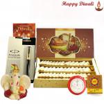 Festive Divinity - Kaju Katli, Parker Beta Premium Ball Pen, Ganesh Idol with Bhaidooj Tikka and Laxmi-Ganesha Coin