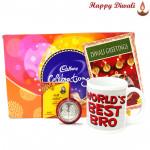 Best Brother - World's Best Bro Mug, Cadbury Celebrations with Bhaidooj Tikka and Laxmi-Ganesha Coin