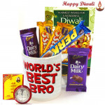 Dooj Celebration - World's Best Bro Mug, 5 Assorted Bars with Bhaidooj Tikka and Laxmi-Ganesha Coin