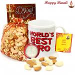 Health N Crunch - World's Best Bro Mug, Cashew Almond 200 gms Potli with Bhaidooj Tikka and Laxmi-Ganesha Coin
