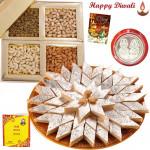Best Bhaidooj Gift - Kaju Katli 250 gms, Assorted Dry fruits 200 gms with Bhaidooj Tikka and Laxmi-Ganesha Coin