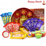 Choco Loaded - 5 Dairy Milk, 4 Five Star, 4 Kit Kat, 4 Perk, Meenakari Thali with 4 Diyas and Laxmi-Ganesha Coin