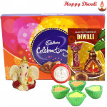 Celebrations with Ganesh - Celebrations, Ganesh Idol with 4 Diyas and Laxmi-Ganesha Coin