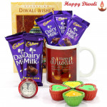 Diwali Chocs - Happy Diwali Mug, 5 Dairy Milk (M) with 4 Diyas and Laxmi-Ganesha Coin