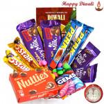 Chocolates - 2 Dairy Milk Fruit n Nut, 2 Dairy Milk(M), 2 Five Star, 2 Perk, Cadbury Nutties, Gems with Laxmi-Ganesha