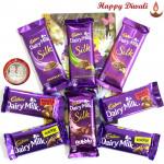 Bubble Of Joy - Dairy Milk Bubbly, 3 Dairy Milk Silk, 2 Dairy Milk Fruit n Nut 38 gms, 2 Dairy Milk Crackle 38 gms with Laxmi-Ganesha