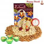 Divine Crunch - Cashew & Almond, Ganesh Idol with 4 Diyas and Laxmi-Ganesha Coin