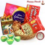 Royal Basket - Cashewnuts in Potli, Cadbury Celebrations, Soan Papdi 250 gms, Chocopie, Basket with 4 Diyas and Laxmi-Ganesha Coin