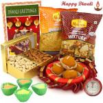All You Think Of - Cashew Almond in Box, Kanpuri Laddo 250 gms, 2 Haldiram Namkeen, Decorative Thali with 4 Diyas and Laxmi-Ganesha Coin