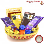 Handcrafted Joy - 2 Temptations, 2 Dairy Milk Silk, Hand Made Chocolates 100 gms in Basket with Laxmi-Ganesha Coin