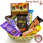 Choco Hex - Bournville, Mars, Snickers, Dairy Milk, Five Star, Perk in Basket with Laxmi-Ganesha Coin