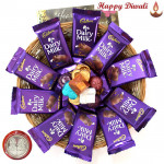 More of Chocs - 10 Dairy Milk, Hand Made Chocolates 100 gms in Basket with Laxmi-Ganesha Coin