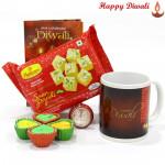 Papdi Mug -Haldiram Soan Papdi 250 gms, Happy Diwali Mug with 4 Diyas and Laxmi-Ganesha Coin