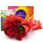 Roses N Celebration - 12 Red Roses + Cadbury's Celebrations Pack + Card