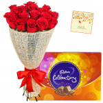 Ever Caring Love - 20 Red Roses + Cadbury's Celebrations Pack + Card