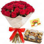 Lovely Feelings - 12 Red Roses + Ferreo Rocher 16 pcs + Card