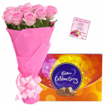 Love Celebration - 15 Pink Roses + Cadbury's Celebrations Pack + Card