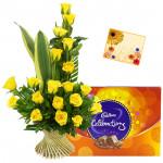 Superlative - Basket 15 Yellow Flowers + Cadbury Celebration + Card
