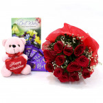 Premium Gifts - 10 Red Roses Bunch, 5 Dairy Milk , Teddy Bear 6 inch + Card