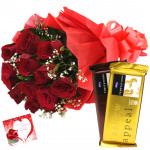 Roses & Temptation - 10 Red Roses + 2 Cadbury Temptations + Card