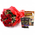 Choco with Love - 10 Red Roses + 2 Bournville + Card