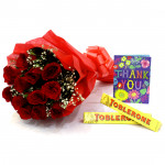 Sweet Gift - 15 Red Roses Bouquet + 2 Toblerone + Card