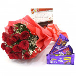 Rosy Nut - 6 Red Roses with 2 Fruit & Nut & Crackle+ Card