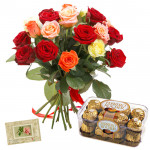 Prime Gift - 12 Mixed Roses Bunch + Ferrero Rocher 16 Pcs  + Card