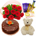 Fun for All - 12 Red Roses Bunch, 5 Assorted Bars, 1/2 Kg Chocolate Cake, Teddy 6 inch + Card