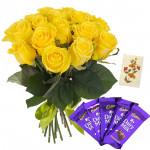 Roses with Cadbury - 10 Yellow Roses, 5 Cadbury Dairy Milk Bars + Card