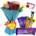 Yellow N White - 10 Mix Roses Bunch, Assorted Cadbury Hamper  + Card