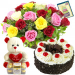 Assorted Basket - 20 Mix Roses in Basket, Ferrero Rocher 16 Pcs, Teddy 6 inch , Chocolate Cake 1/2 Kg + Card