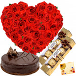 Heart of Chocolate - Heart Shaped Basket of 35 Red Roses, 2 Ferrero Rocher 4 Pcs, Chocolate Cake 1/2 Kg + Card
