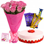 Pink Theme - 12 Pink Roses + Half Kg Strawberry Cake + 5 Assorted Bars + Card