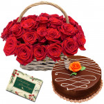 Winning Happiness - 15 Red Roses Basket, 1/2 Kg Cake + Card