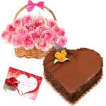 Memories - 15 Pink Roses Basket + Heart Cake 1kg + Card