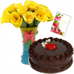 Remarkable Gift - Vase of 10 Yellow Roses , 1/2 KG Cake + Card