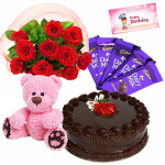 Superabundant Combo - 12 Red Roses Bunch, 1/2 Kg Cake, Teddy Bear 6 inch, 5 Dairy Milk + Card
