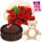 Lovely Warmth - 12 Red Roses + 1/2 Kg Cake + 6 Inches Teddy Bear + Card