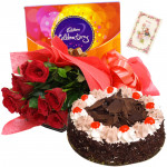 Surprise the Love - 12 Red Roses, 1/2 Kg Cake, Cadbury Celebration + Card