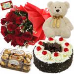 Delightful Divine - 12 Red Roses, 1/2 Kg Cake, Ferrero Rocher 16 Pcs, Teddy 6 inch + card