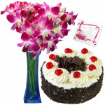 Welcoming Treat - 6 Orchids Vase + 1/2 Kg Cake + Card