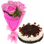 Graceful Combo - 6 Pink Roses, 1/2 Kg Cake + Card