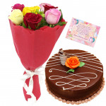 Dazzling Gifts - 6 Mix Roses, 1/2 Kg Cake + Card