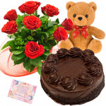 Masterly Combo - 6 Red Roses Bunch, 1/2 Kg Cake, Teddy Bear 6 inch + Card