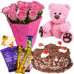 Exemplary Treat - 12 Pink Roses Bunch, 1/2 Kg Cake, Teddy Bear 6 inch, 5 Assorted Bars + Card