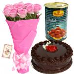 Sensational Combo - 12 Pink Roses in Bunch, 1/2 Kg Cake, Gulab Jamun + Card
