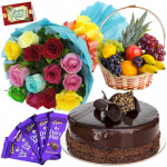 Attracting You - 10 Mix Roses Bunch, 1/2 Kg Cake, 1 Kg Fruit Basket, 5 Dairy Milk + Card